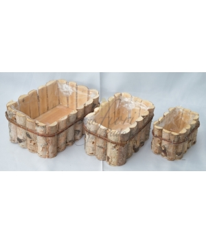 Coprivaso Betulla Rettangolare set 3 pcs