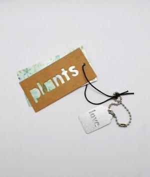 TAG PLANT IN CARTONE CON FOGLIE E TARGHETTA IN METALLO LOVE 25 PZ