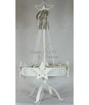 Portacandele in ferro bianco