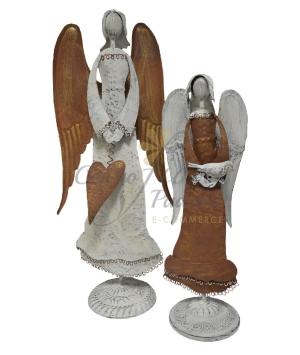 ANGELI IN METALLO RUGGINE/BIANCO