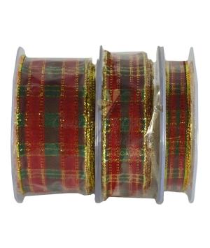 Nastro scozzese lurex rosso/verde